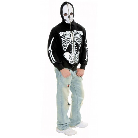 Skeleton Hoodie Costume Jacket With Zip-up Skull Mask image