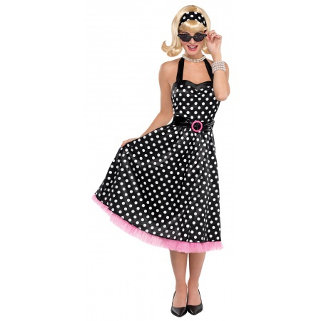 50s Girl Costume Polka Dot Dress image