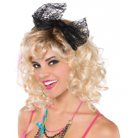 80s Costume Black Lace Bow Headband image