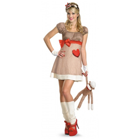 Ms. Sock Monkey Deluxe Costume Funny Whacky image