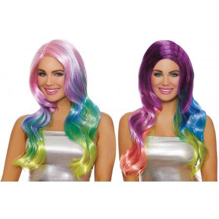 Long Rainbow Ombre Wig image