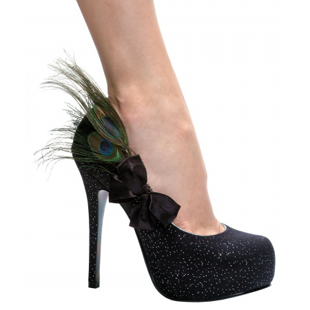 Iridescence Costume Shoes Peacock Feather Black Stiletto High Heel Pumps image