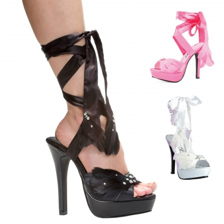 Sexy Ankle Strap High Heels With Feather Accents image