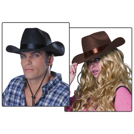 Rancher  Hat Costume Accessory Black Pleather Cowboy Hat image