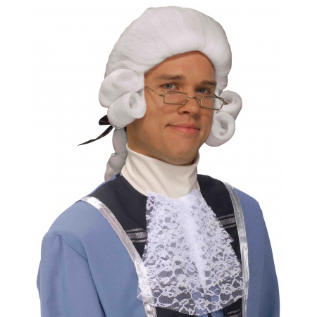 Mens White Colonial Wig image