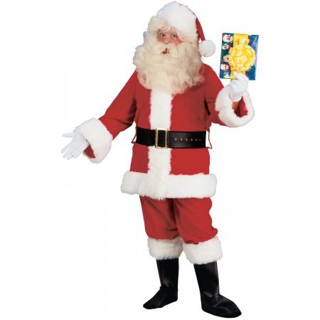 Deluxe Plush Santa Suit Costume Claus Fancy Dress Father image