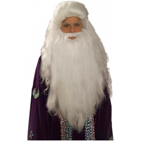 White Sorcerer Wig And Beard Set Costume Accessory image