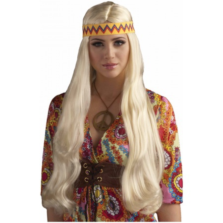 Hippie Chick Wig With Headband Costume Accessory image