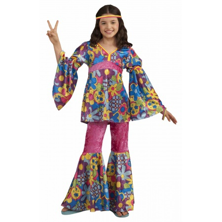 Girls 60s Hippie Costume image