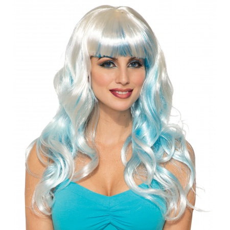 Long White And Blue Wig image