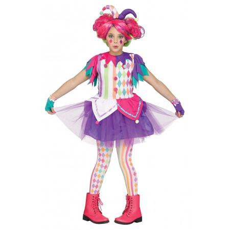 Girls Harlequin Clown Costume image
