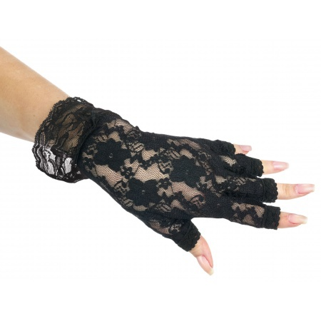 Black Lace Fingerless Gloves image