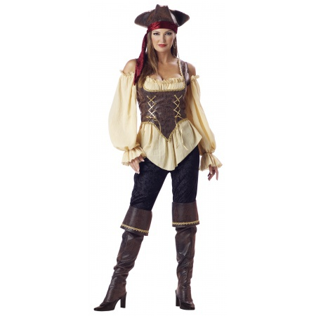 Rustic Pirate Lady Costume Wench Deluxe image