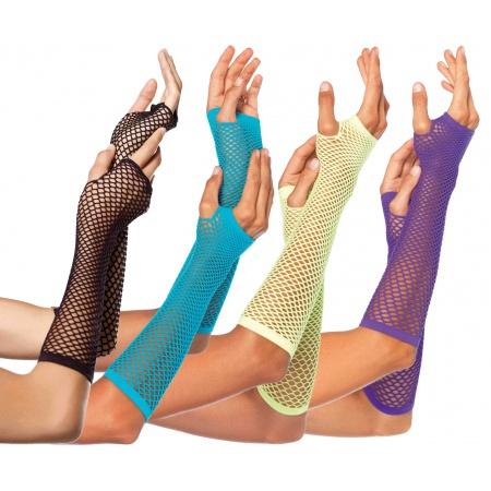 Long Fingerless Fishnet Gloves image