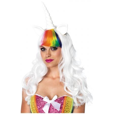 Adult Rainbow Unicorn Costume Wig And Tail Kit image