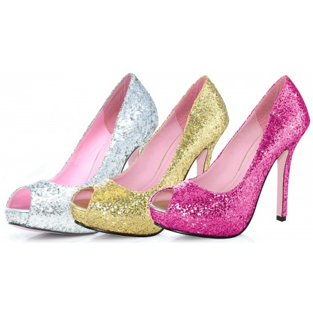 Fuchsia-gold-silver Glitter High Heels image
