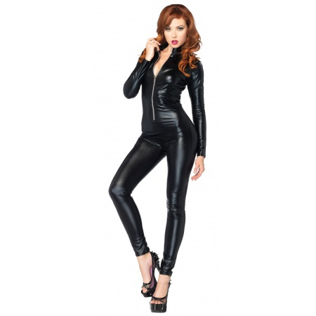 Womens Black Catsuit Costume image