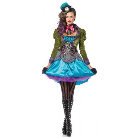 Female Victorian Mad Hatter Halloween Costume image