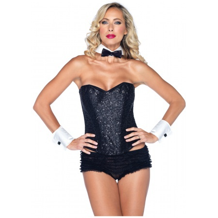 Womens Tuxedo Costume Bow Tie Collar And Cuffs image