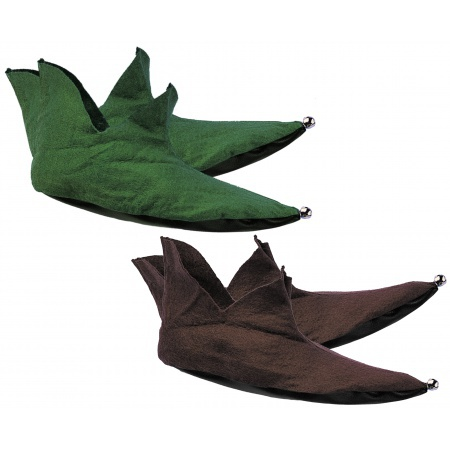 Felt Elf Shoes Costume Accessory Green Or Brown Medieval image