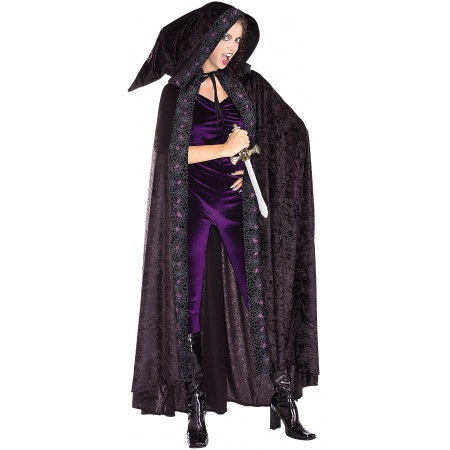 Velvet Hooded Spider Cloak Costume Accessory Black Cape image