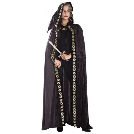 Black Velvet Hooded Cloak Costume Accessory Cape image