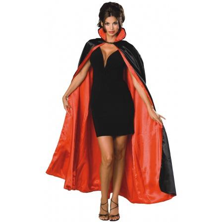 Black/Red Reversible Satin Cape Costume Accessory Vampire Devil Magician Opera Phantom Cloak image