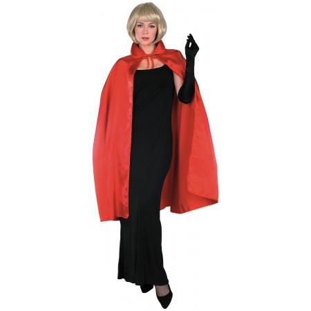 Red Satin Cape Costume Accessory Devil Vampire Cloak image