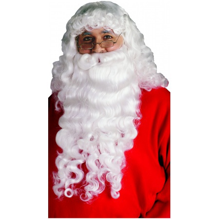 Long Santa Claus Beard & Wig Set Costume Accessory White Curly image