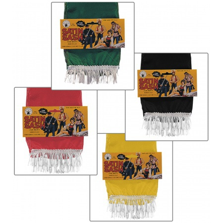 Satin Sash Costume Accessory Black, Green, Red Or Yellow Pirate Gypsy image