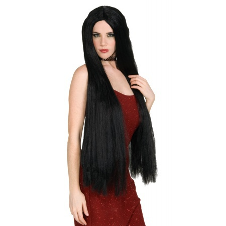 36 Inch Long Black Witch Wig Costume Accessory Sorceress Vampire Hippie Cher image