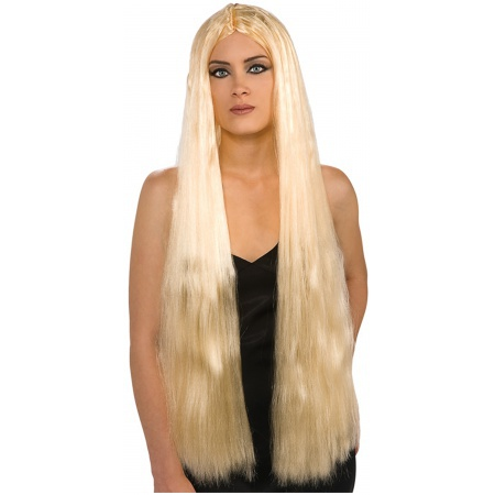 36 Inch Long Blonde Witch Wig Costume Accessory Sorceress Hippie Medieval image