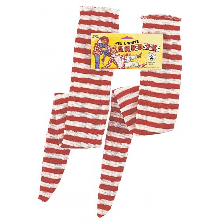 Red And White Striped Socks image