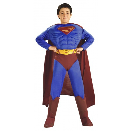 Deluxe Muscle Chest Superman Costume For Kids image
