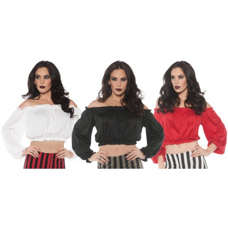 Womens Pirate Shirt Crop Top Blouse image