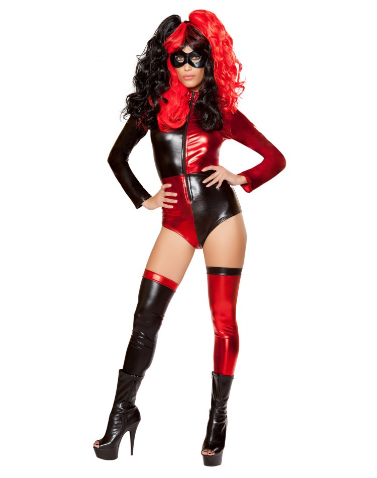 db99190210a Red And Black Sexy Harlequin Costume Adult