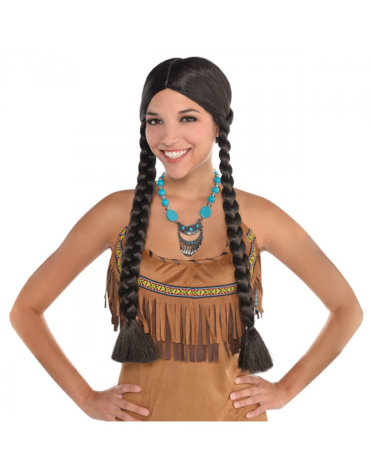 Adult Indian Girl Pocahontas Costume Wig Female Halloween
