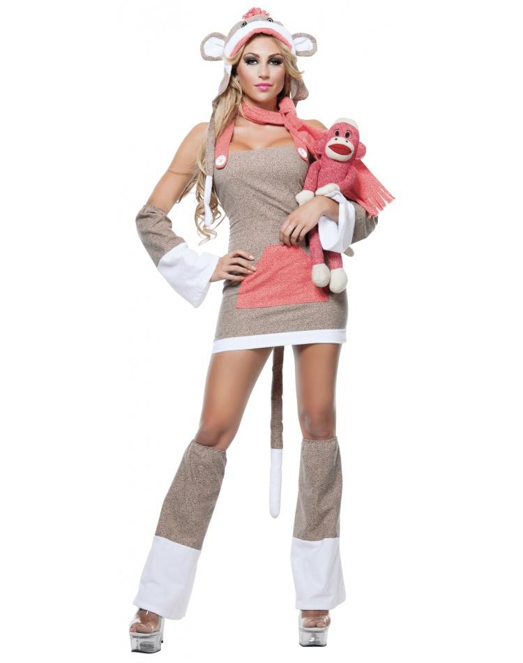 Sock Monkey Girl Costume Size Large 10-12